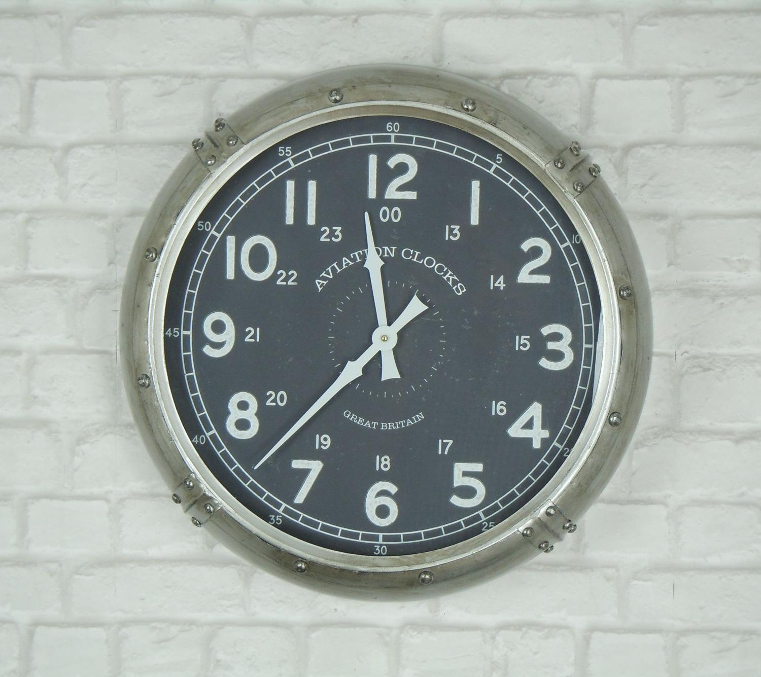 Aviation retro metal wall clock