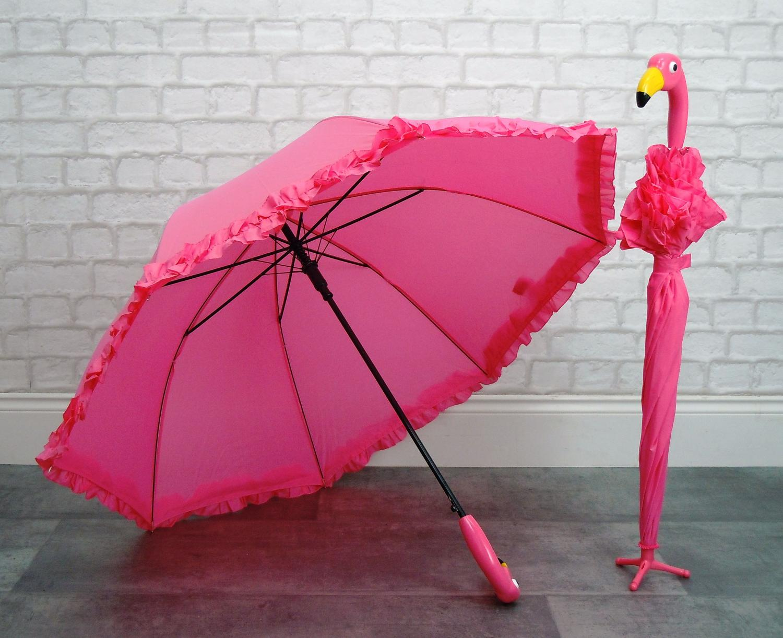Ruffled flamingo umbrella with stand