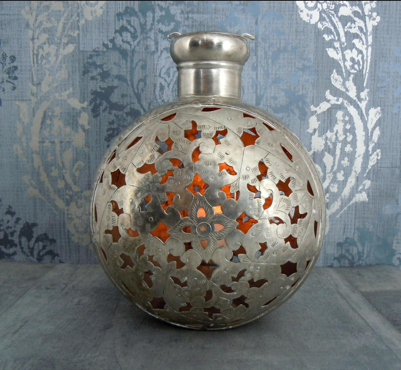 Antique effect metal lantern