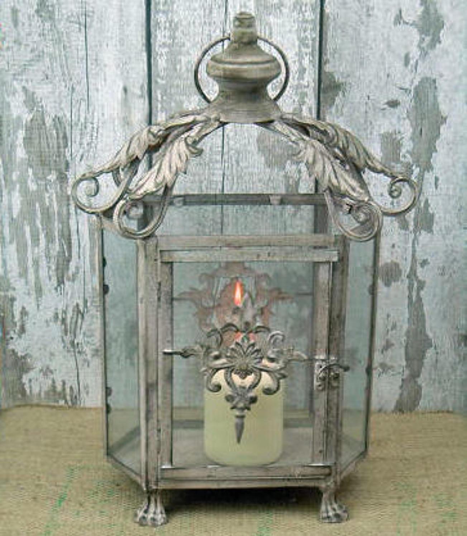 Grey wash metal lantern