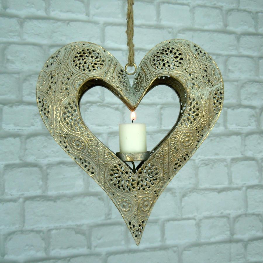 Hanging metal heart tea light holder