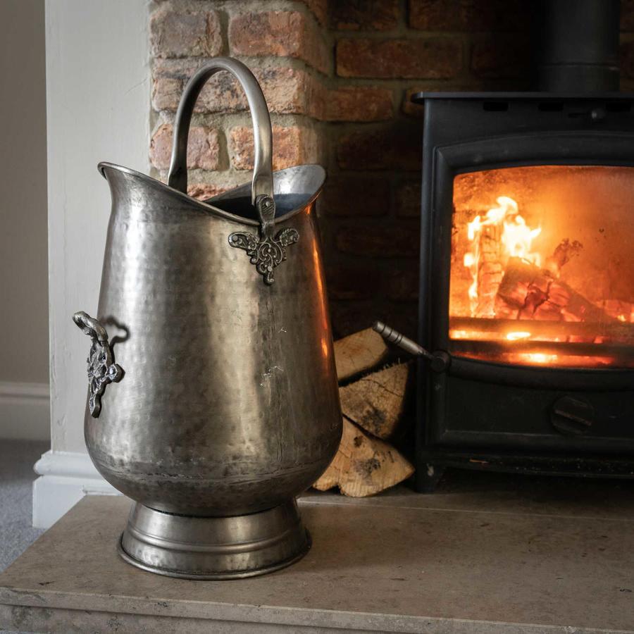 Antique pewter coal scuttle/bucket