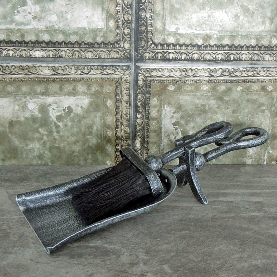 Hammered black brushed steel hearth tidy set