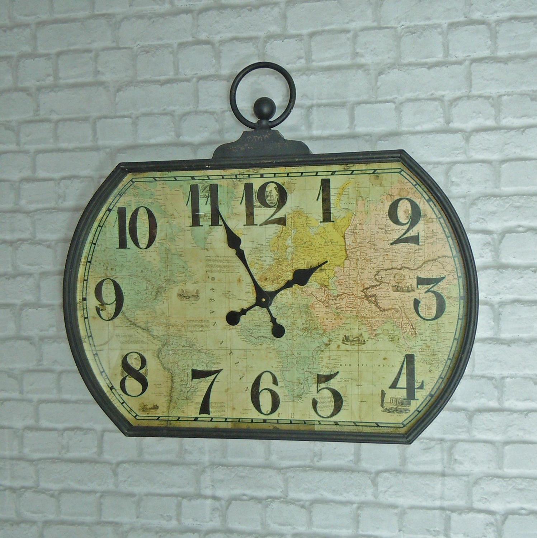 Ship navigation map wall clock