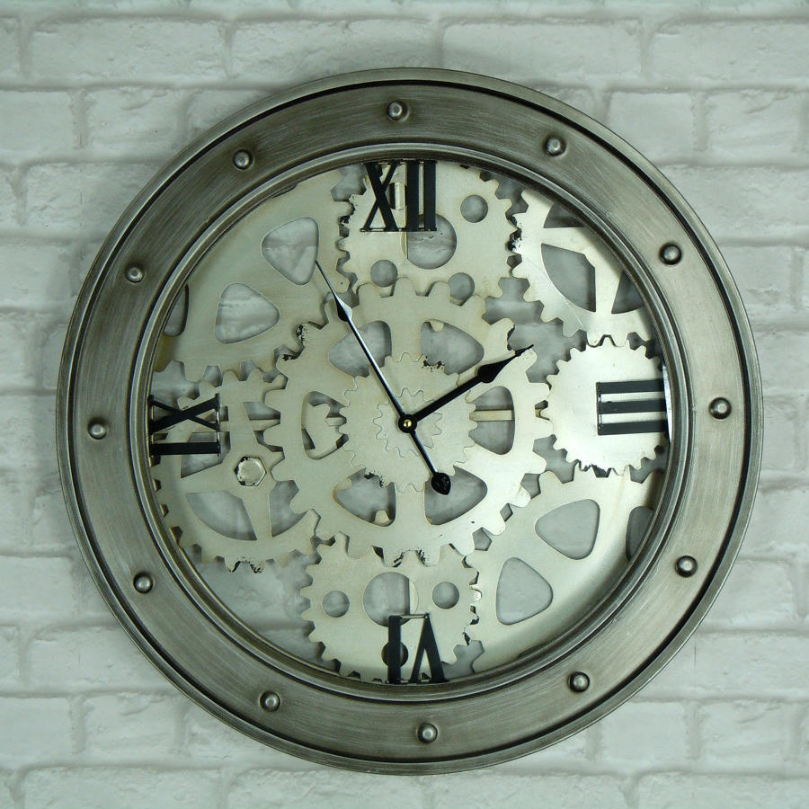 Industrial cog effect wall clock
