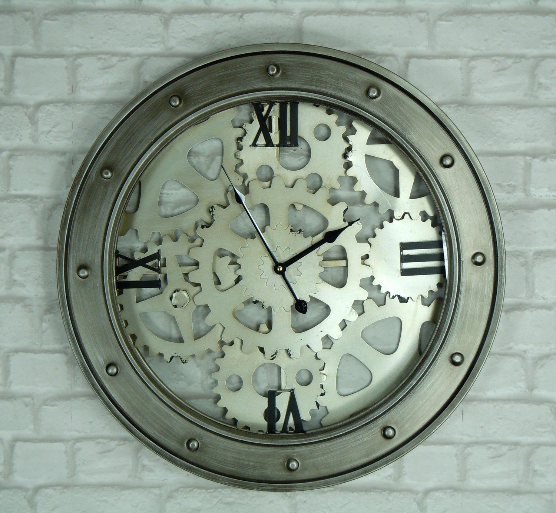Industrial cog effect wall clock