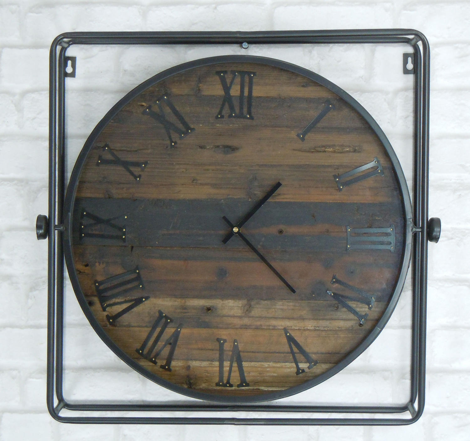 Metal framed wall clock