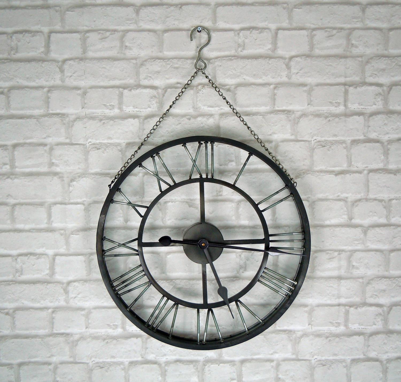 Industrial metal wall clock