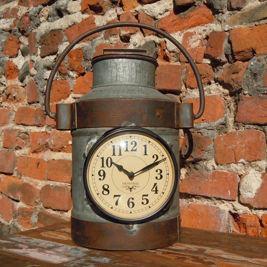 Metal recycled milk churn clock