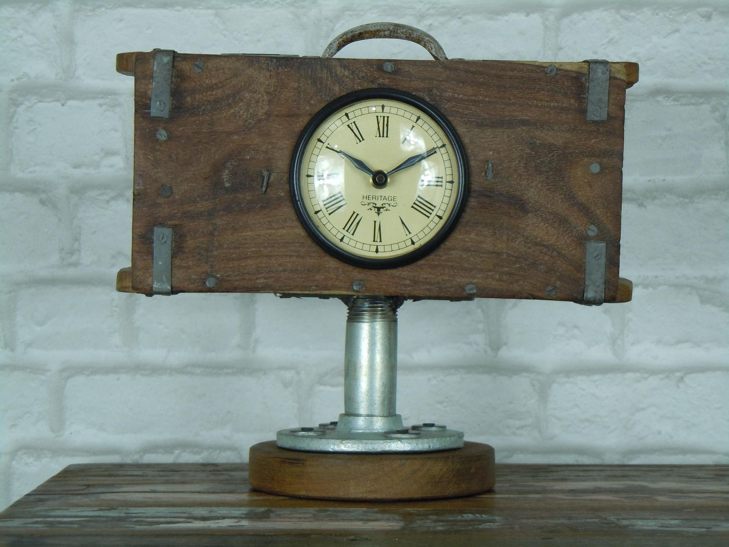 Recycled brick mould clock with wooden base