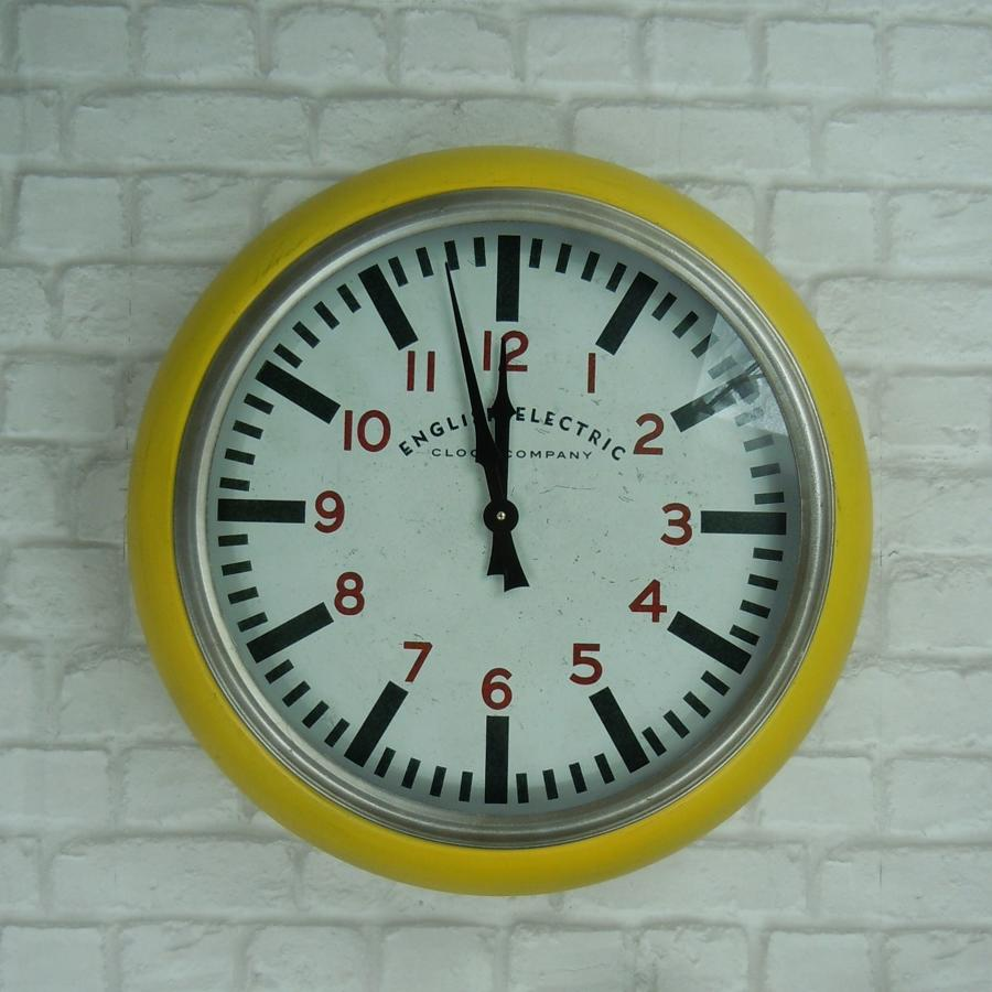 Metal yellow wall clock