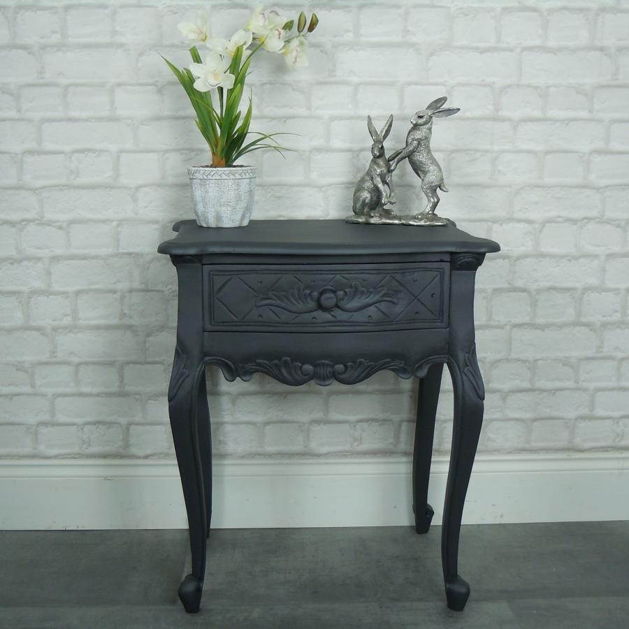 Solid mahogany single drawer painted cabinet