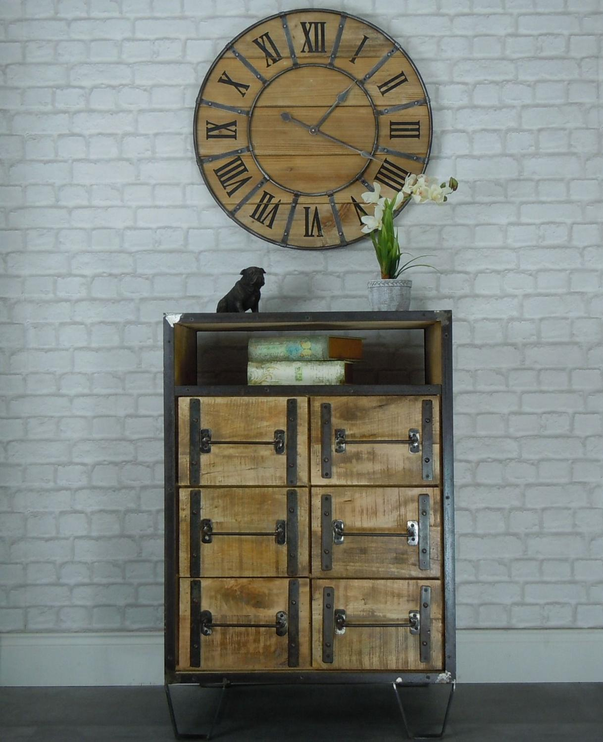 Industrial wood and metal cabinet