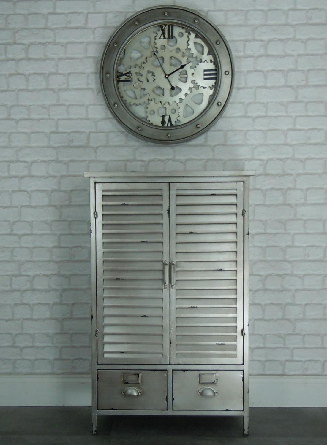 Industrial metal cabinet with louvred doors
