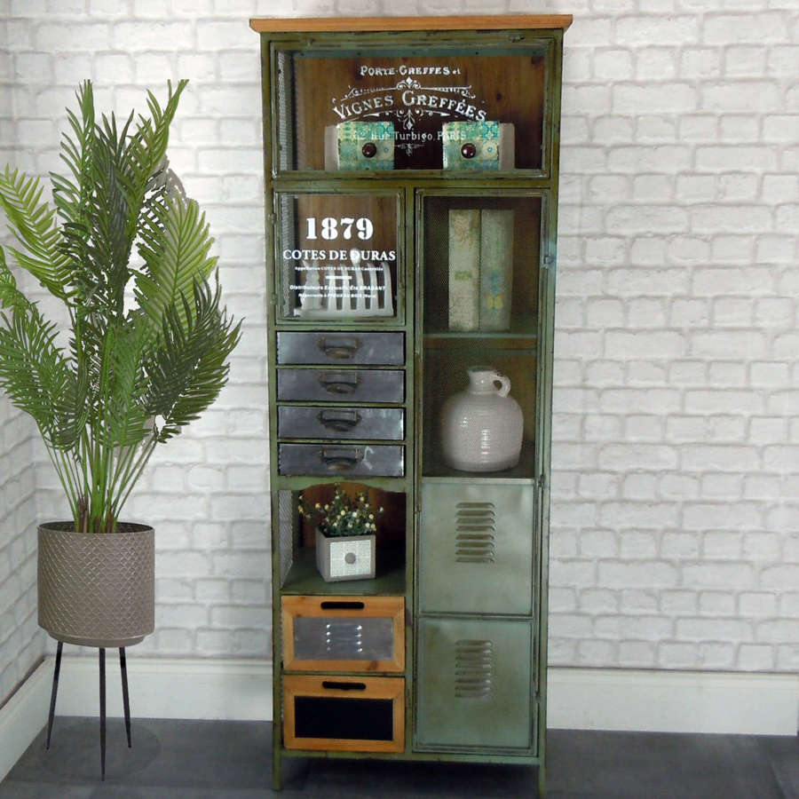 Industrial metal and wood tall cabinet