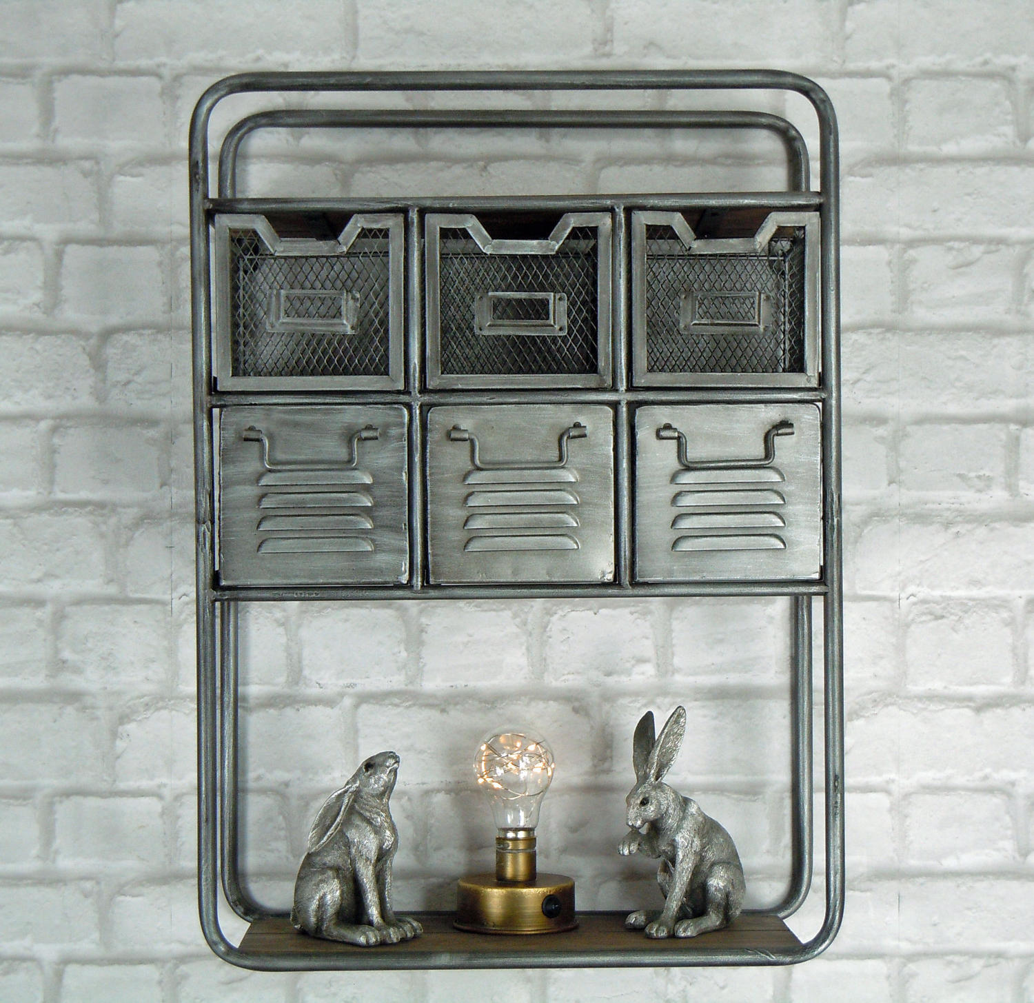 Industrial urban style metal and wood wall cabinet