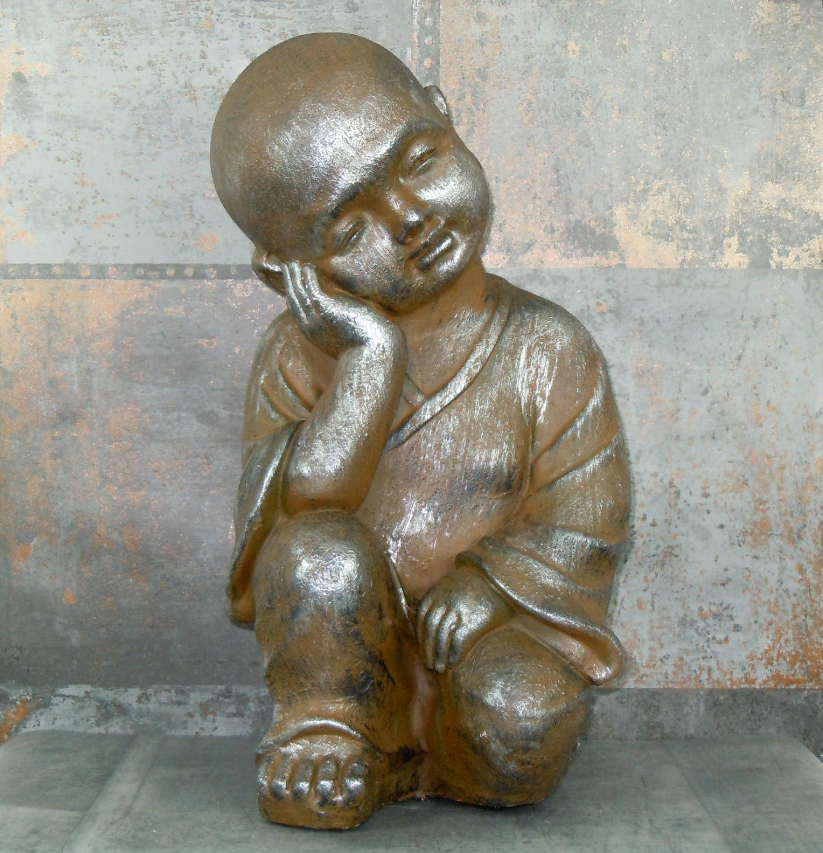 Bronzed metallic finish resin Monk