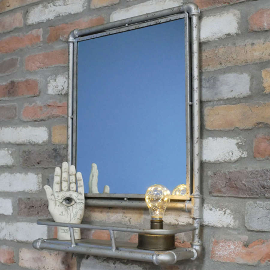 Industrial pipe mirror with shelf