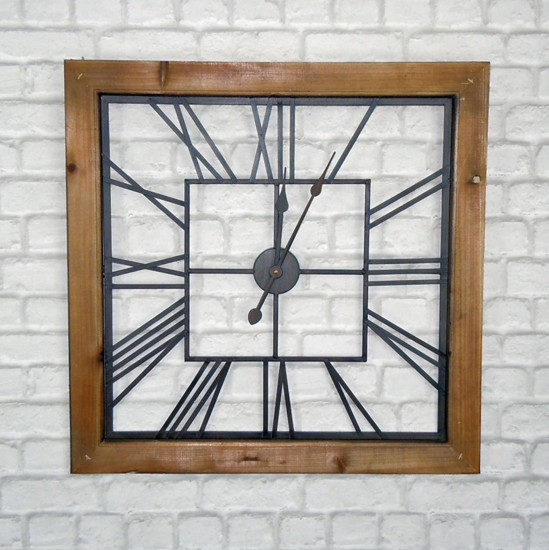 Rustic industrial metal and wood wall clock