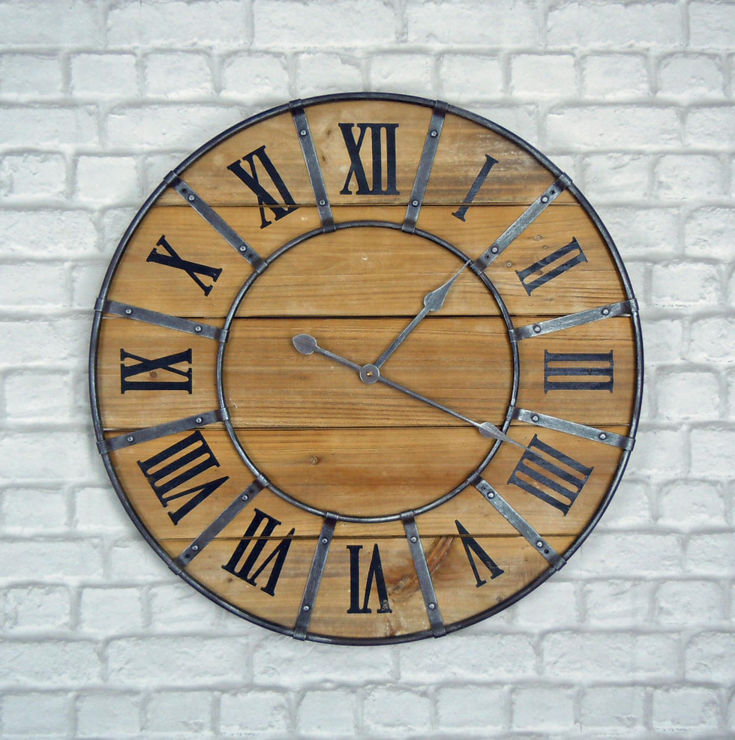 Rustic industrial metal and wood wall clock