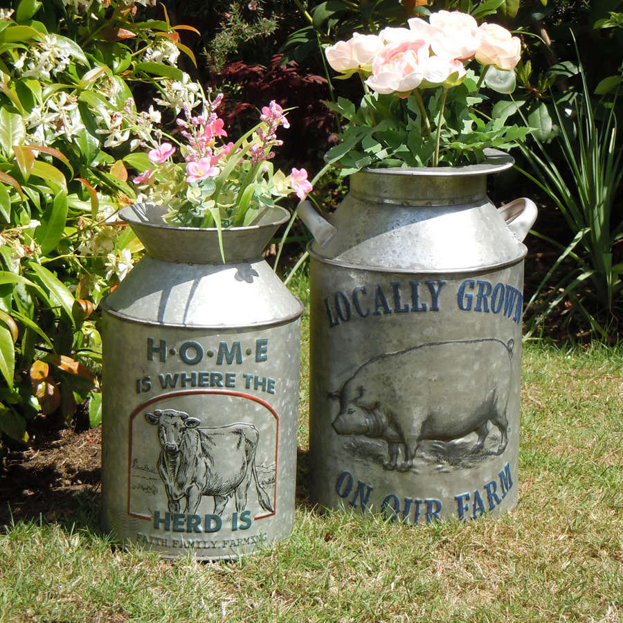 Vintage design galvanised metal churns