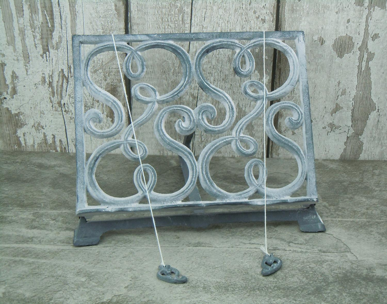 Grey cast iron cookbook stand