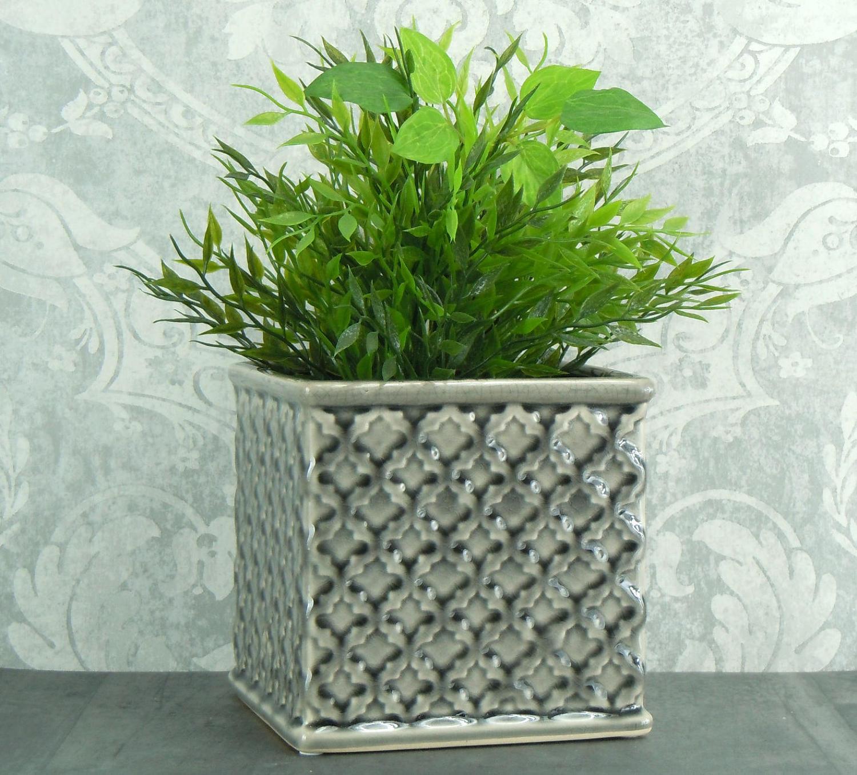 Grey ceramic crackle glaze planter