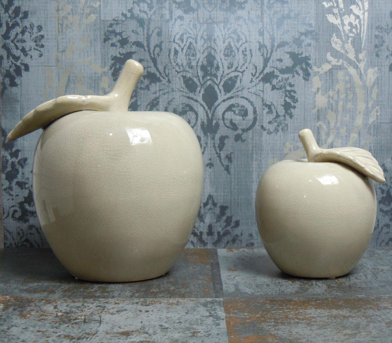 Antique grey ceramic apples