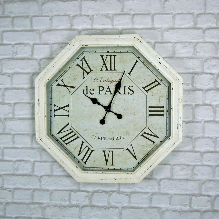 Octagonal cream Paris clock