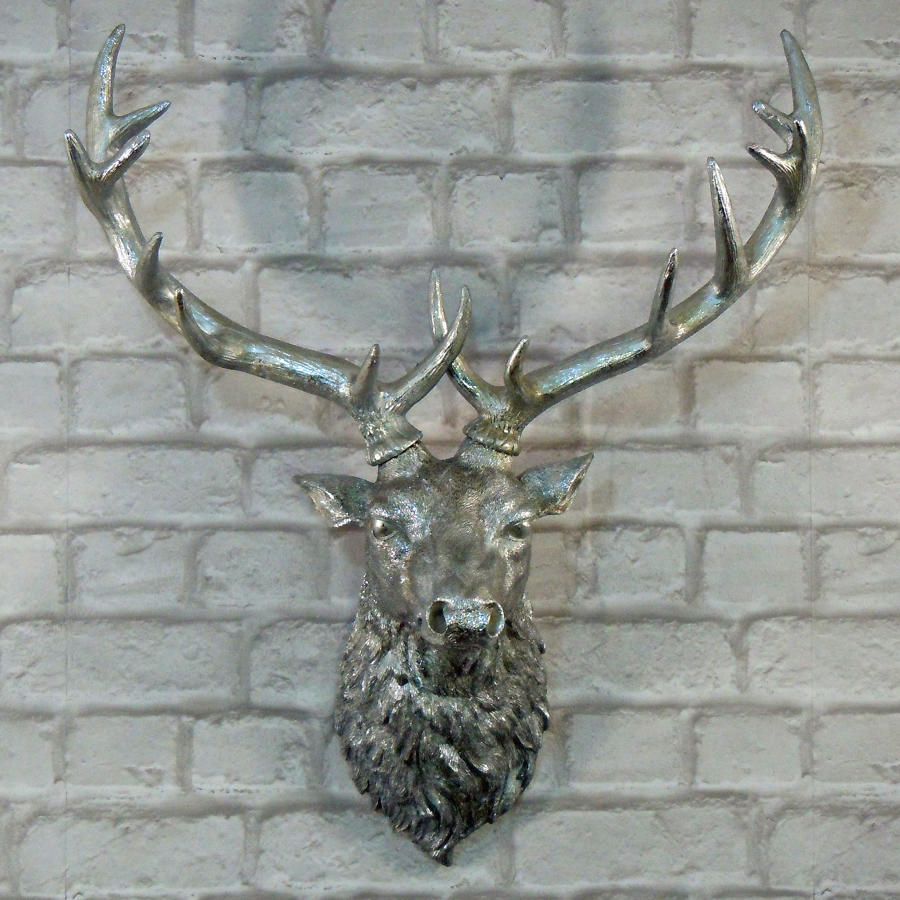 Silver wall mounted Stag head