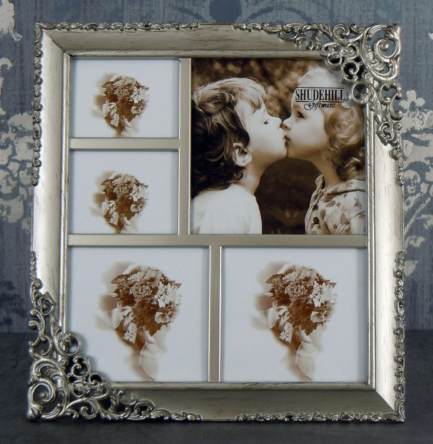 Brushed Steel effect multi photo frame
