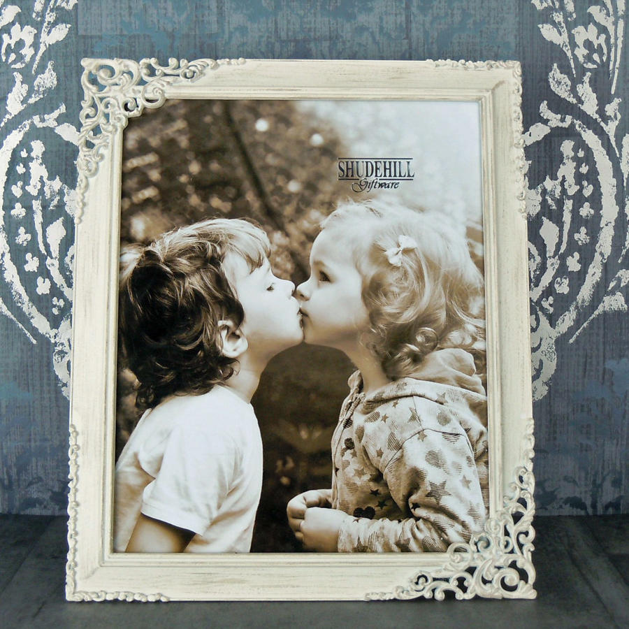 Cream lace metal photo frame large