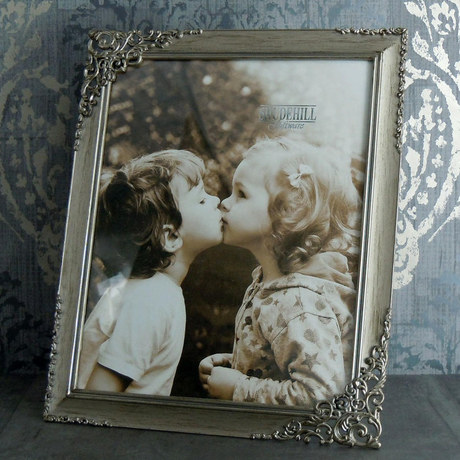 Brushed steel lace metal photo frame large
