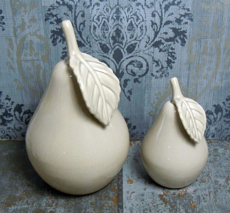 Antique grey ceramic pears