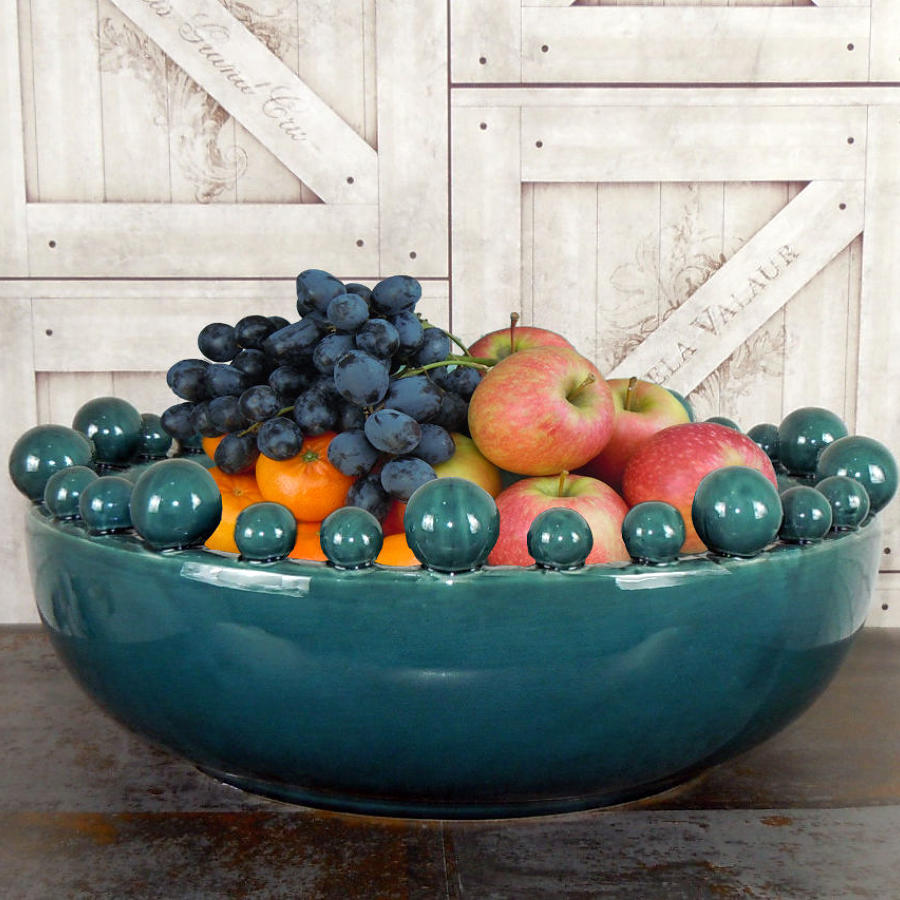 Teal Ceramic bowl with balls on the rim
