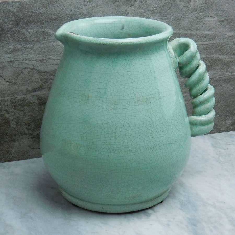 Aquamarine crackle glaze ceramic jug