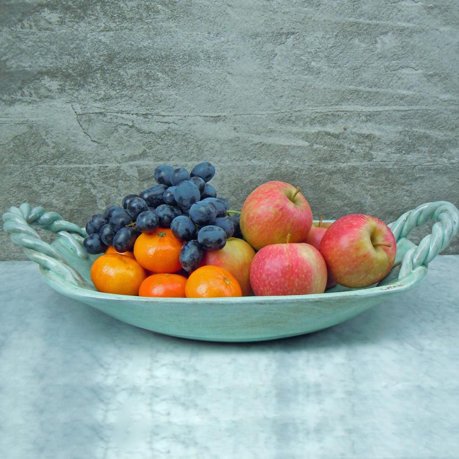 Aquamarine crackle glaze ceramic basket