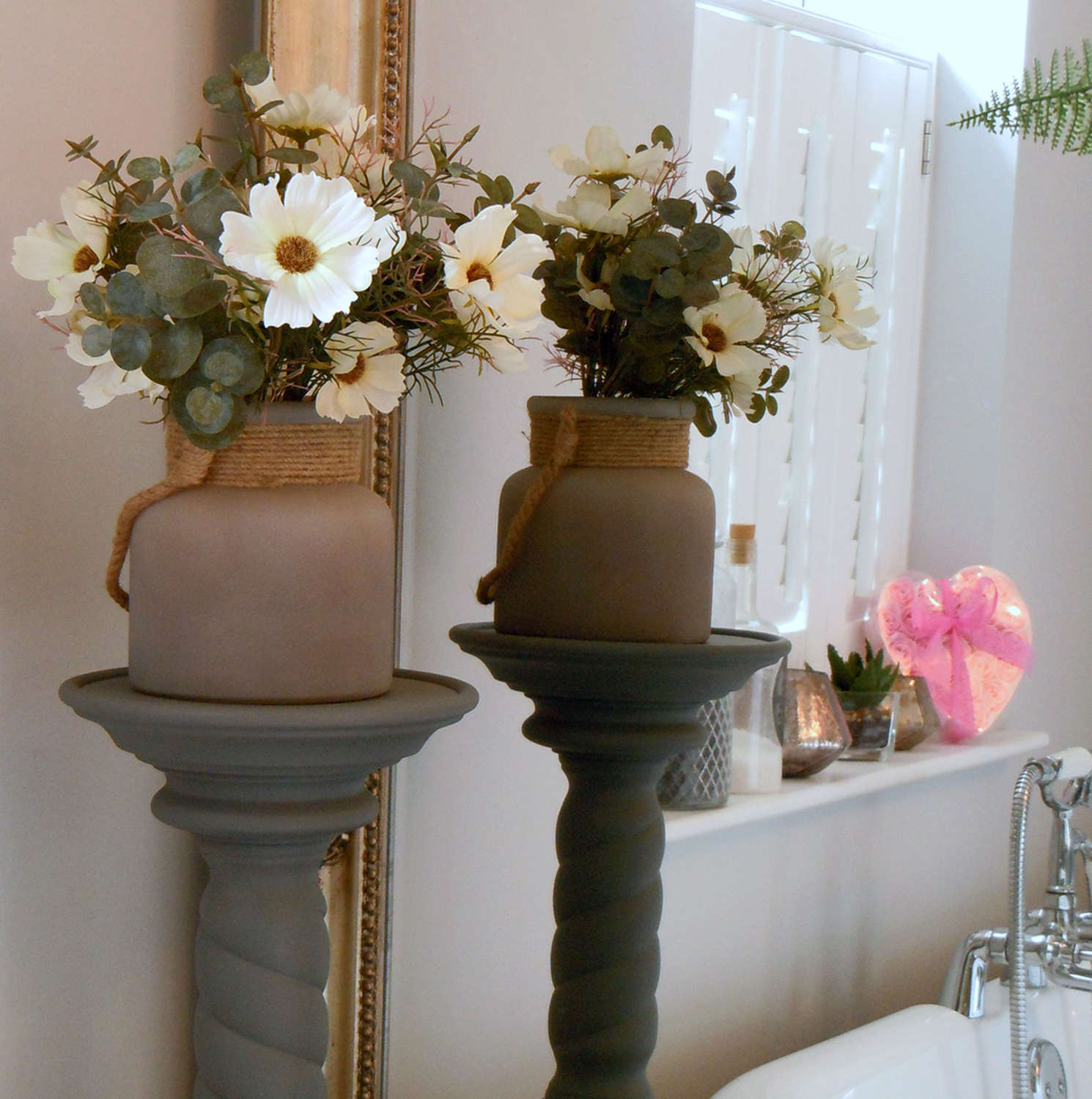 Frosted glass vase lantern