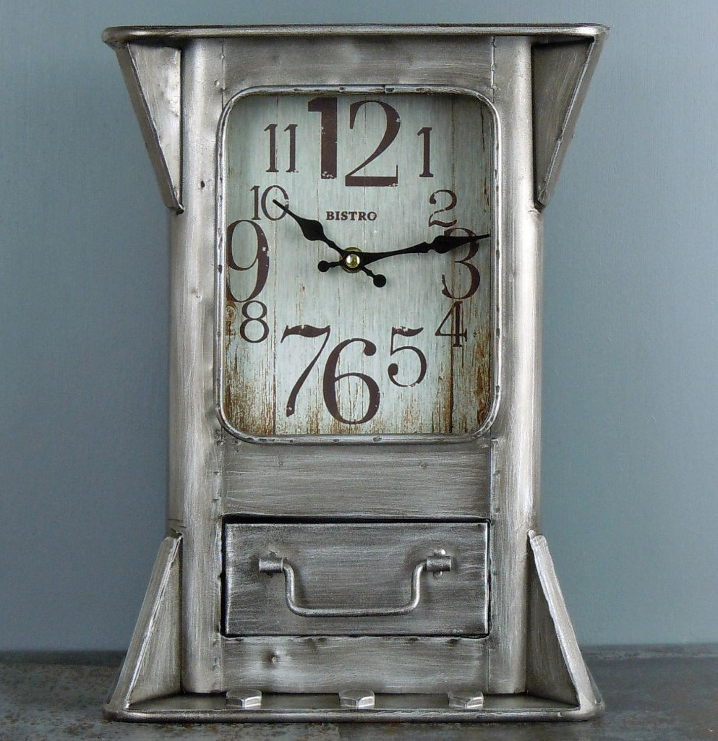 Industrial metal clock