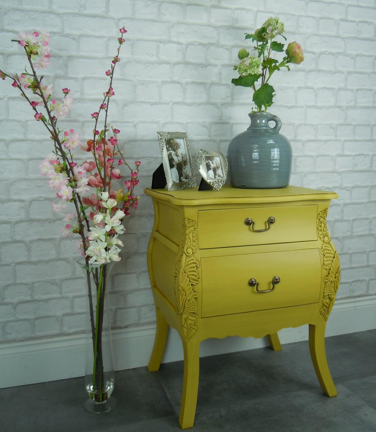 Solid mahogany mustard two drawer cabinet