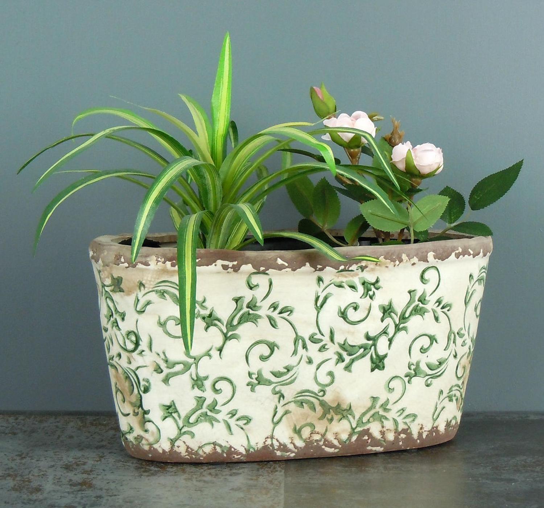 Distressed oval green floral crackle glaze ceramic plant pot