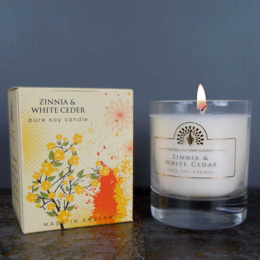 Zinnia and White Cedar pure soy candle