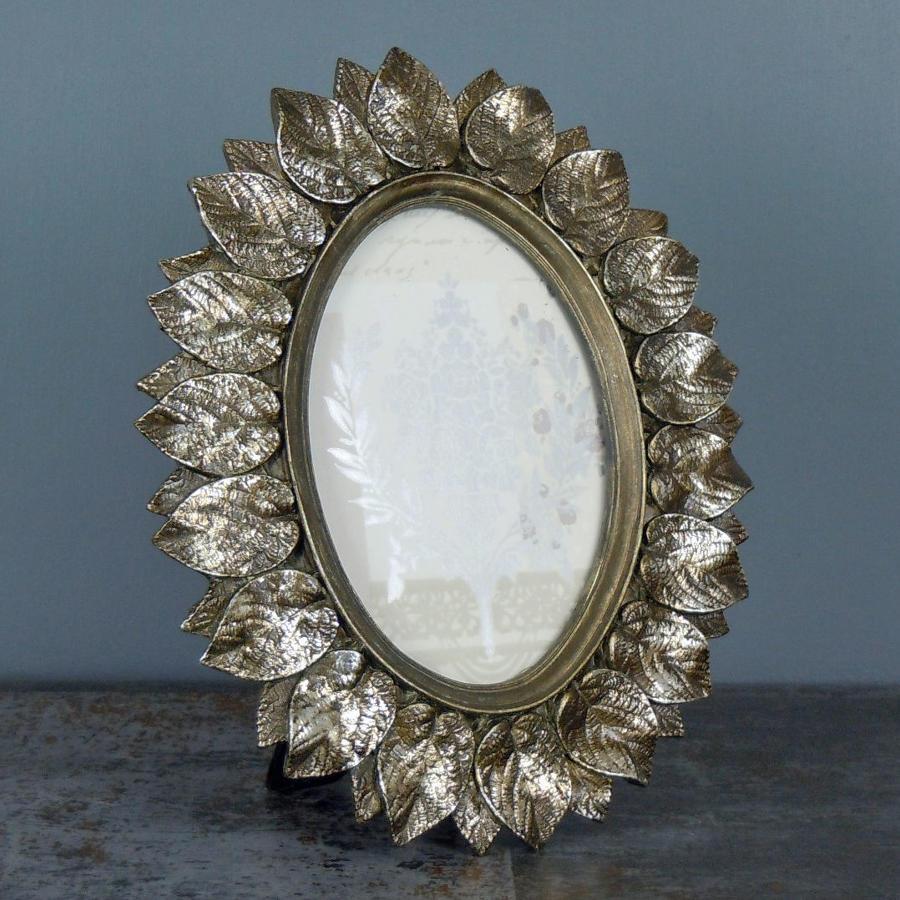 Antique Metallic Layered Leaf Design oval Photo Frame