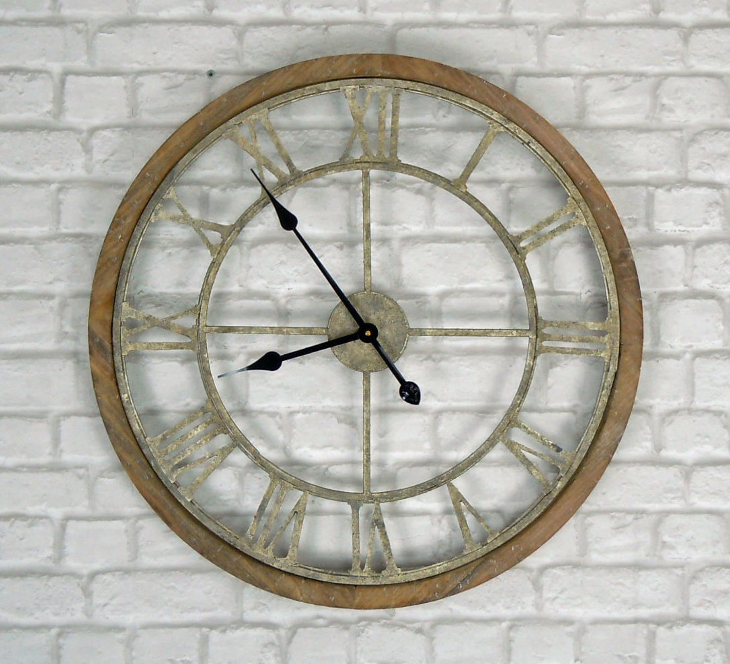 Rustic wood and metal round wall clock