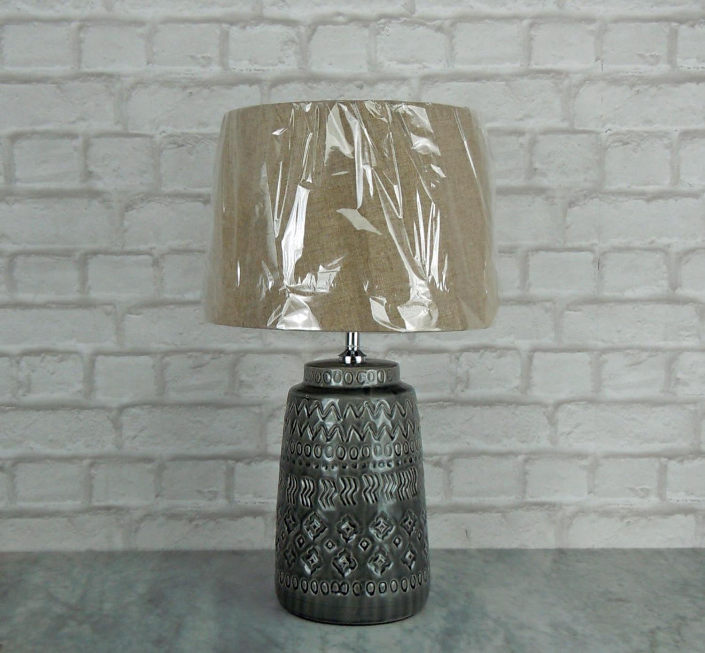 Dark grey crackle glaze lamp