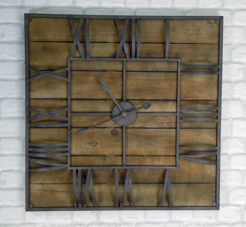 Rustic industrial wood and metal wall clock