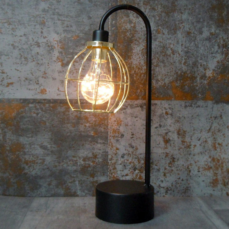 Industrial metal black and gold battery operated lamp