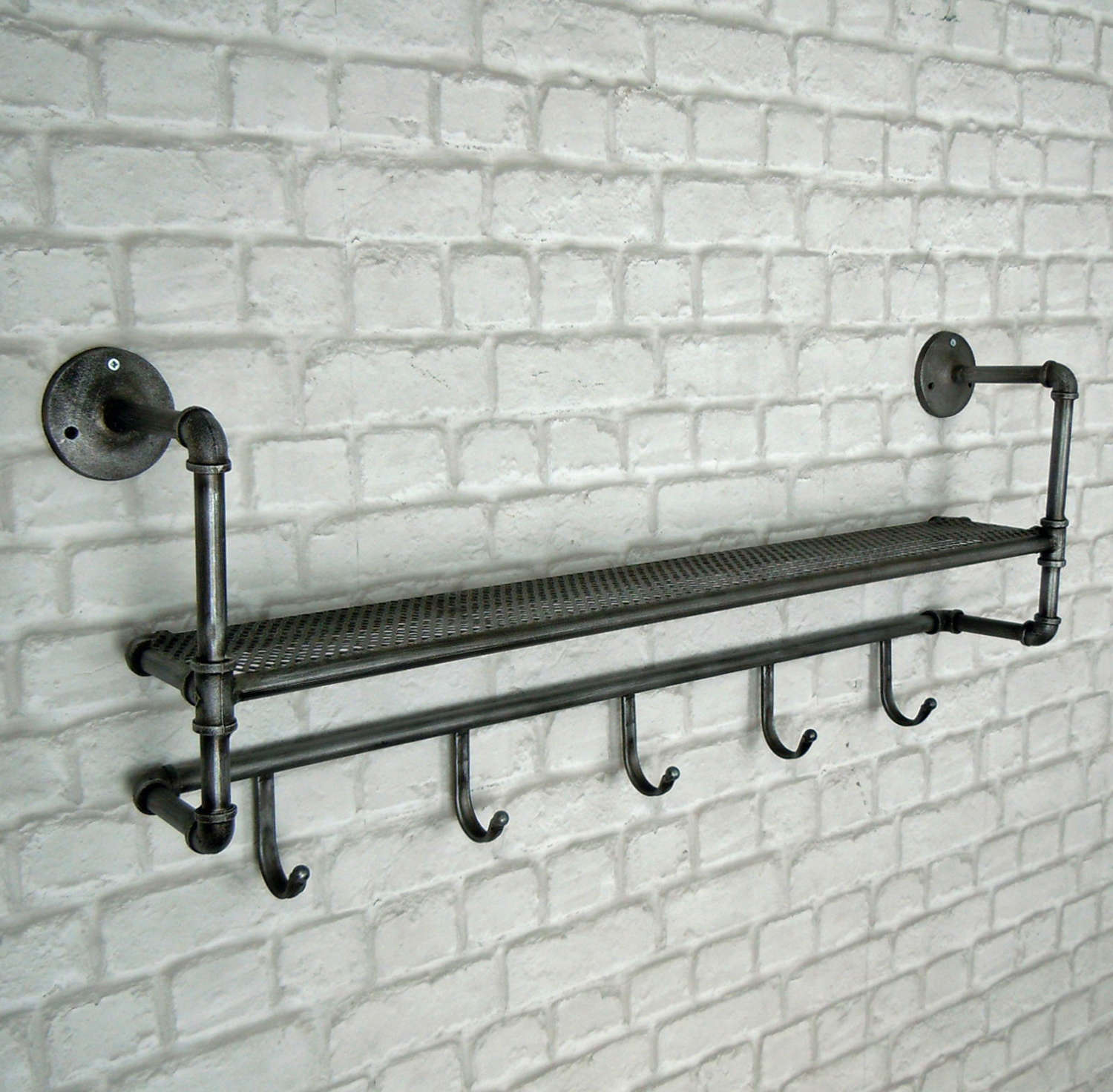 Industrial shelf with hooks