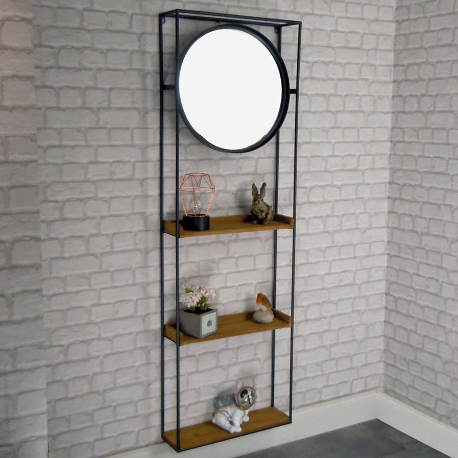 Industrial wall hanging shelf unit with mirror
