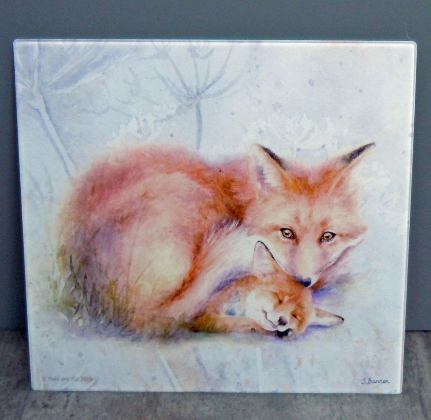 Glass Fox chopping board, worktop saver